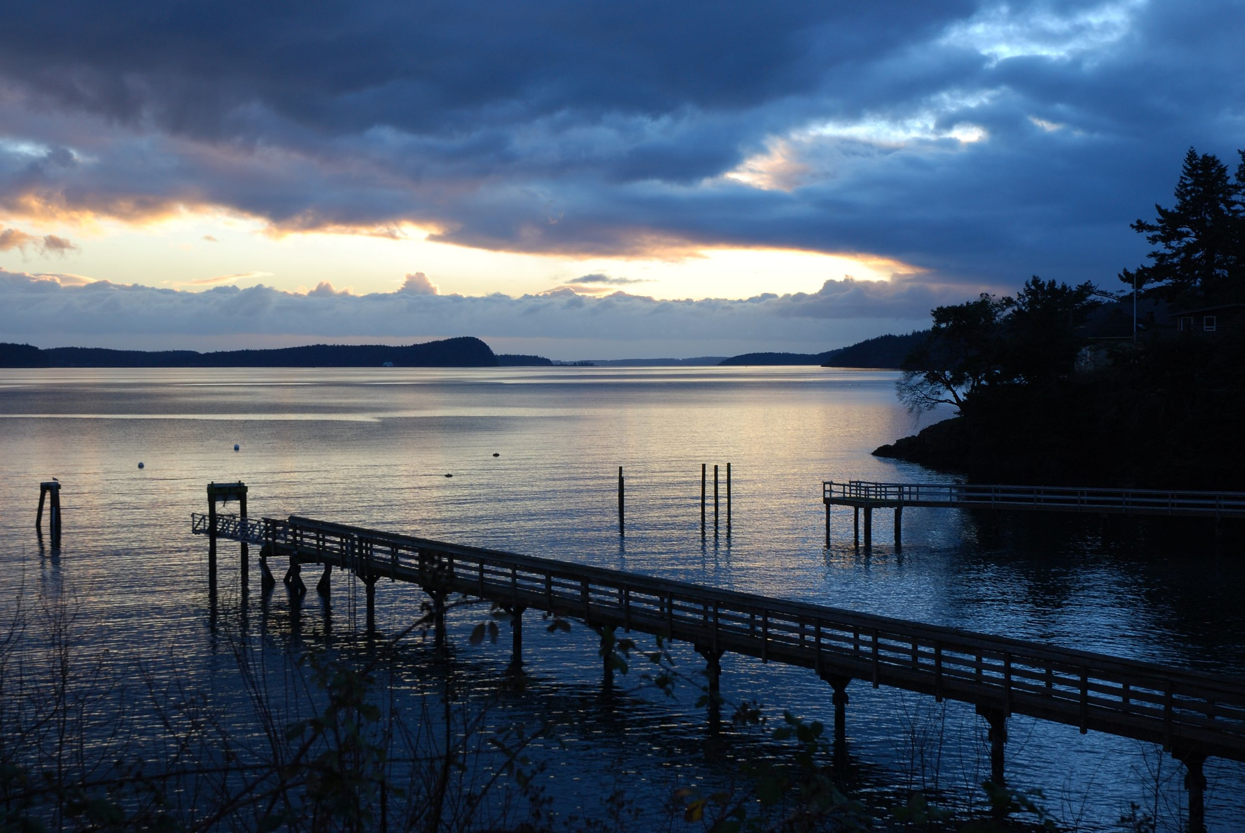 twilight at olga dock on orcas island washington